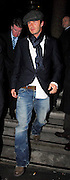 24.FEBRUARY.2007. LONDON<br /> <br /> DAVID BECKHAM LEAVING CIPRIANI RESTAURANT AT 1.30AM AFTER HAVING DINNER WITH BEST MATE DAVE GARNER. HE THEN WENT TO 50 ST.JAMES'S CASINO, MAYFAIR AS HE GETS OUT THE CAR YOU CAN SEE A BALD PATCH ON HIS HEAD, BEFORE LEAVING AT 3.30AM WEARING A CAP AND A SCARF. DAVID WAS SUSPENDED FOR REAL MADRID'S GAME LAST NITE AFTER BEING SENT OFF.<br /> <br /> BYLINE: EDBIMAGEARCHIVE.CO.UK<br /> <br /> *THIS IMAGE IS STRICTLY FOR UK NEWSPAPERS AND MAGAZINES ONLY*<br /> *FOR WORLD WIDE SALES AND WEB USE PLEASE CONTACT EDBIMAGEARCHIVE - 0208 954 5968*