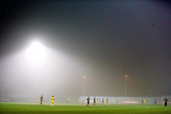 NEWPORT, WALES - Sunday, November 1, 2015: Fog descends on Dragon Park as Wales lose 2-1 to Scotland during the Under-16's Victory Shield International match at Dragon Park. (Pic by David Rawcliffe/Propaganda)
