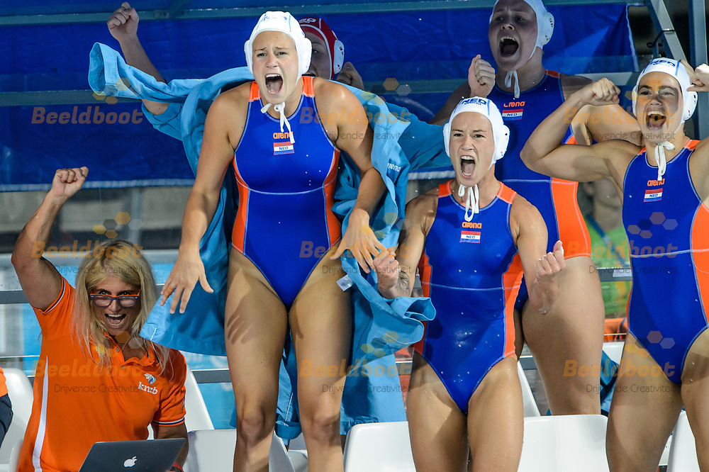 22-07-2017: Waterpolo: Nederland v Rusland: Boedapest<br /> <br /> (L-R) Team NL Teammanager Ineke Yperlaan of team Netherlands, Marloes Nijhuis of team Netherlands, Nomi Stomphorst of team Netherlands, Amarens Genee of team Netherlands during the waterpolomatch between women Netherlands and Russia during the 17th FINA World Championships 2017 in Budapest, Hungary<br /> <br /> Photo / Foto: Gertjan Kooij