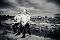 St Andrews Dock, Kingston Upon Hull, East Yorkshire, United Kingdom, 03 July, 2015. Pictured: Ray Coles, Jerry Thompson of the Hull Bullnose Heritage Group