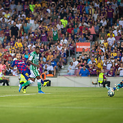 BARCELONA, SPAIN - August 25:  Jordi Alba #18 of Barcelona shoots past goalkeeper Dani Martin #13 of Real Betis to score his sides fourth goal during the Barcelona V  Real Betis, La Liga regular season match at  Estadio Camp Nou on August 25th 2019 in Barcelona, Spain. (Photo by Tim Clayton/Corbis via Getty Images)