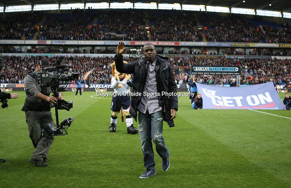 02/05/2012 - Barclays Premier League - Bolton Wanderers vs. Tottenham Hotspur - Fabrice Muamba sheds a tear as he returns to Bolton less than 7 weeks after suffering a cardiac arrest - Photo: Simon Stacpoole / Offside.