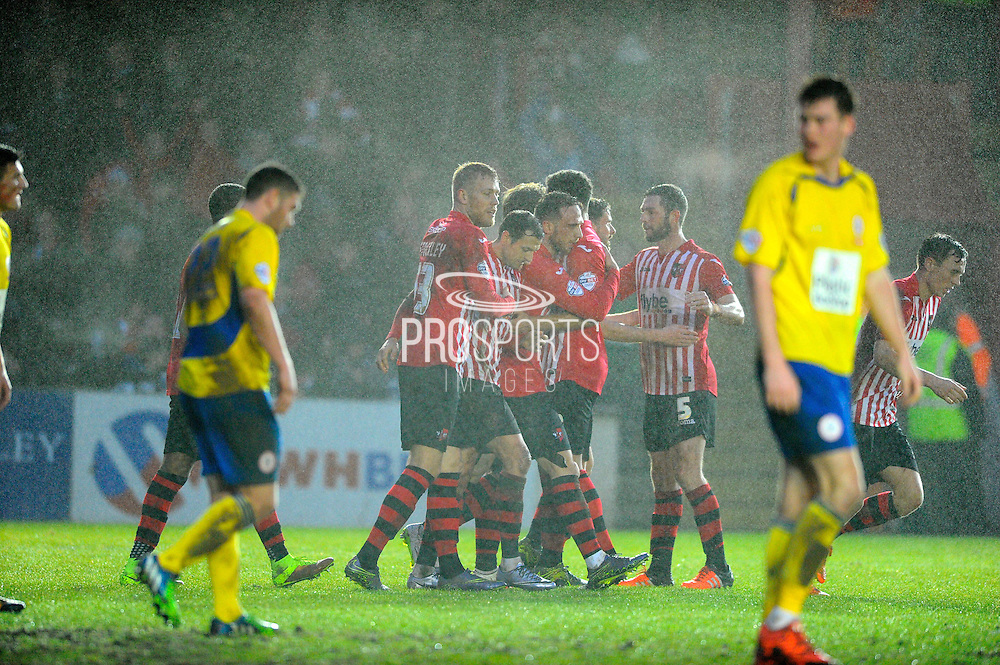 Exeter players celebrate their second goal during the Sky Bet League 2 match between Exeter City and Accrington Stanley at St James' Park, Exeter, England on 23 January 2016. Photo by Graham Hunt.