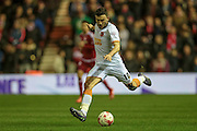 Robert Snodgrass (Hull City) crosses the ball over to the far wing during the Sky Bet Championship match between Middlesbrough and Hull City at the Riverside Stadium, Middlesbrough, England on 18 March 2016. Photo by Mark P Doherty.