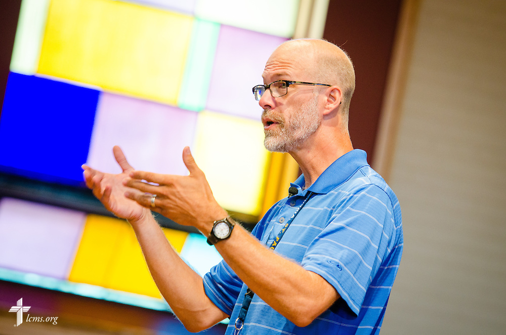 The Rev. Thomas Gundermann, university pastor, leads chapel services in Graebner Memorial Chapel at Concordia University, Saint Paul, on Wednesday, August 6, 2014, in St. Paul, Minn.   LCMS Communications/Erik M. Lunsford