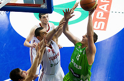 Ramazan Tekin of Turkey vs Gezim Morina of Slovenia during basketball match between National teams of Turkey and Slovenia in Qualifying Round of U20 Men European Championship Slovenia 2012, on July 17, 2012 in Domzale, Slovenia. Slovenia defeated Turkey 72-71 in last second of the game. (Photo by Vid Ponikvar / Sportida.com)