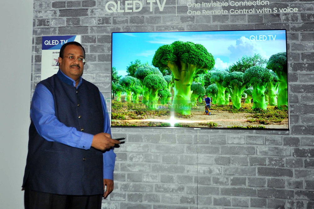 June 14, 2018 - Kolkata, West Bengal, India - Samsung India Senior Vice President (Consumer Electronics Business) Raju Pullan takes part in a press conference on Television Technology. (Credit Image: © Saikat Paul/Pacific Press via ZUMA Wire)