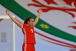 NEWPORT, WALES - Tuesday, June 12, 2018: Wales' Kayleigh Green salutes the supporters as she is substituted during the FIFA Women's World Cup 2019 Qualifying Round Group 1 match between Wales and Russia at Newport Stadium. (Pic by David Rawcliffe/Propaganda)