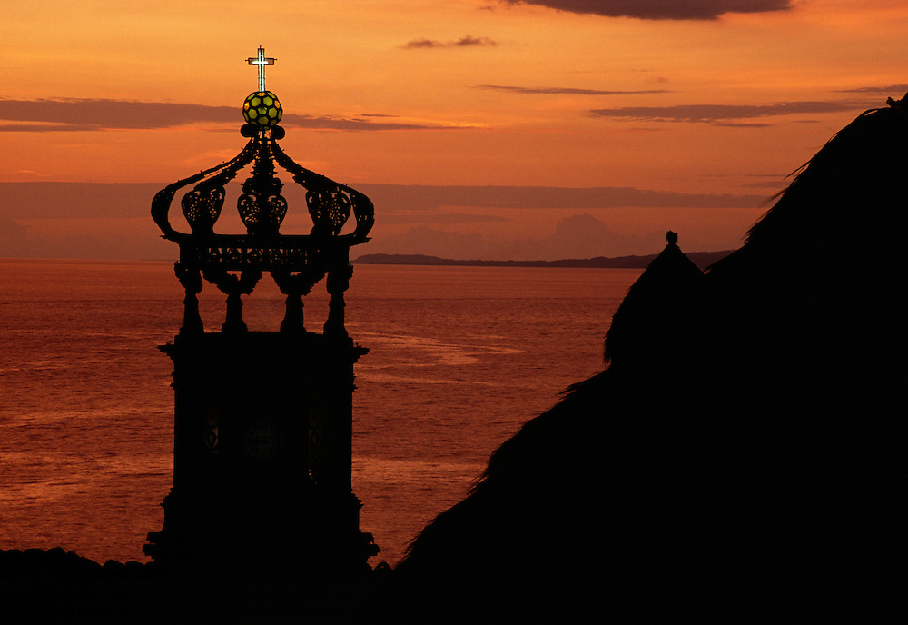 The famous crown of Our Lady of Guadalupe church in historical Puerto Vallarta.