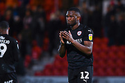 Dimitri Cavare of Barnsley (12) reacts to drawing 0-0 with Doncaster Rovers, as he claps the away fans during the EFL Sky Bet League 1 match between Doncaster Rovers and Barnsley at the Keepmoat Stadium, Doncaster, England on 15 March 2019.