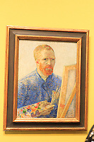 A self-portrait by Vincent Van Gogh on display at the Van Gogh Museum in Amsterdam, The Netherlands