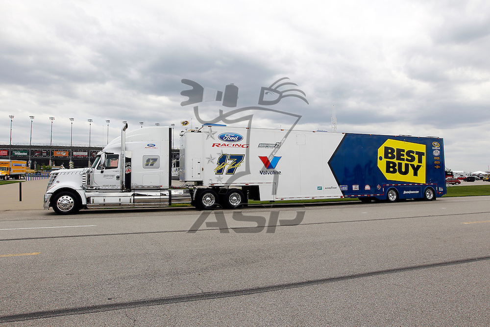 KANSAS CITY, KS - APR 19, 2012:  The Best Buy hauler waits to park  for the STP 400 at the Kansas Speedway in Kansas City, KS.