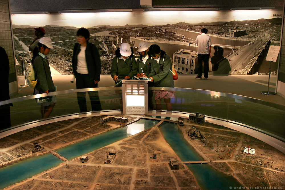 Hiroshima Peace Memorial Museum. Reproduction of the area where now is the Peace memorial Park, as it was after the bombing.