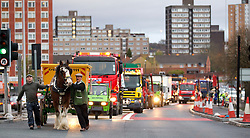 "© under license to London News Pictures. 1/4/2010: Fuel protest organiser Tony Cauchi (L), who runs local business Salford Skip Hire. A skip company owner caused tailbacks in Manchester this morning (Fri) by deciding to move one of his skip's by horse and cart. Mr Cauchi organised this morning's fuel protest, along with several other local business, over the last four months. He says the 1p reduction in fuel tax is ""no help"" and calls for a 10 pence reduction on the price of fuel. Credit should read ""Joel Goodman/LNP""."