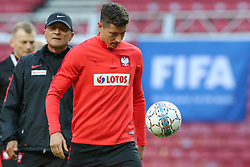 August 31, 2017 - Copenhagen, Denmark - Robert Lewandowski of the Polish national football team takes part in a trainig session on the eve of their FIFA World Cup 2018 qualification football match Denmark vs Poland on August 31, 2017 in Telia Parken, Copenhagen, Denmark. (Credit Image: © Foto Olimpik/NurPhoto via ZUMA Press)