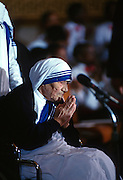 Mother Teresa, founder of the Missions of Charity order receives the Congressional Medal of Honor May 6, 1997 in Washington, DC.