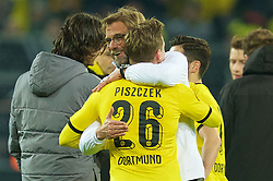 DORTMUND, GERMANY - Thursday, April 7, 2016: Liverpool's manager Jürgen Klopp with former player Lukas Piszczek after the 1-1 draw against Borussia Dortmund during the UEFA Europa League Quarter-Final 1st Leg match at Westfalenstadion. (Pic by David Rawcliffe/Propaganda)