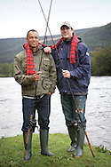 Bryan Clay and Jeremy Campbell are accustomed to competing in front of tens of thousands of spectators in some of the world's greatest sporting arenas, but today the American athletic stars were the picture of relaxation as they indulged in a spot of fishing on the banks of the River Tay.. .Clay, the reigning Olympic decathlon champion, and Campbell, who scooped gold in the pentathlon and discus at the 2008 Paralympics in Beijing, were staying at the East Haugh Hotel, Pitlochry, at the weekend  as part of a drive to promote UK tourism ahead of next year's 2012 London Olympic Games.. .The two athletes, whose tour of Scotland has been organised by VisitScotland and VisitBritain in co-operation with the U.S. Olympic Committee, were in Pitlochry as part of Team USA: Britain Bound. The athletes will document their tour of Scotland, including their visit to Perthshire, through images, video and blogs posted on www.TeamUSA.org/BritainBound.. .Pic shows Bryan and Jeremy with tartan scarf