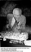 Arthur Miller celebrating his 70th birthday at the New York Public Library. 1995. Film 95412f33<br />