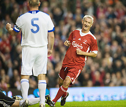 LIVERPOOL, ENGLAND - Thursday, May 14, 2009: Liverpool Legends' Ian Rush celebrates scoring the opening goal against All Stars during the Hillsborough Memorial Charity Game at Anfield. (Photo by David Rawcliffe/Propaganda)