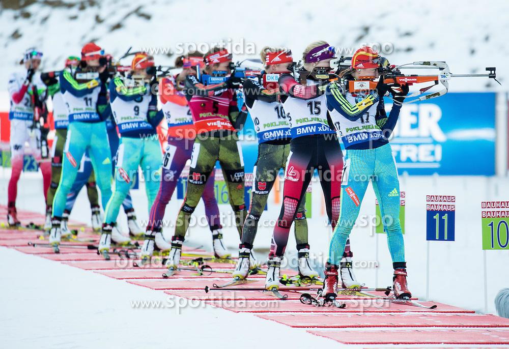 (R-L) Olga Abramova (UKR), Lisa Theresa Hauser (AUT), Maren Hammerschmidt (GER)  during Women 12.5 km Mass Start at day 4 of IBU Biathlon World Cup 2015/16 Pokljuka, on December 20, 2015 in Rudno polje, Pokljuka, Slovenia. Photo by Vid Ponikvar / Sportida