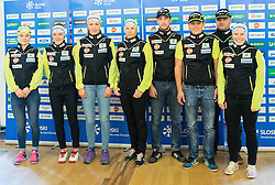 Alenka Cebasek, Lea Einfalt, Ana Marija Lampic, Vesna Fabjan, Bostjan Klavzar, Miha Simenc, Marko Gracer and Nika Razinger during official presentation of the outfits of the Slovenian Ski Teams before new season 2015/16, on October 6, 2015 in Kulinarika Jezersek, Sora, Slovenia. Photo by Vid Ponikvar / Sportida