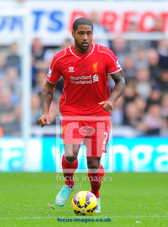 Glen Johnson of Liverpool controls the ball during the Barclays Premier League match at St. James's Park, Newcastle<br /> Picture by Greg Kwasnik/Focus Images Ltd +44 7902 021456<br /> 01/11/2014