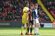 Ryan Leonard of Sheffield United (14) is tightly marked during the EFL Sky Bet Championship match between Sheffield United and Nottingham Forest at Bramall Lane, Sheffield, England on 17 March 2018. Picture by Mick Haynes.