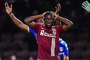 Northampton Town striker Kevin Luckassen (42) holds his head in his hands after going close during the EFL Sky Bet League 1 match between Northampton Town and Shrewsbury Town at Sixfields Stadium, Northampton, England on 20 March 2018. Picture by Dennis Goodwin.