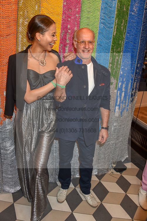 Viscountess Weymouth and Roger Saul at a cocktail supper hosted by BOTTLETOP co-founders Cameron Saul & Oliver Wayman, along with Arizona Muse, Richard Curtis & Livia Firth to launch the #TOGETHERBAND campaign at The Quadrant Arcade on April 24, 2019 in London, England.<br /> <br /> ***For fees please contact us prior to publication***
