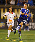 CHATTANOOGA, TN - AUGUST 19:  Forward Abby Wambach #20 of the United States shoots behind midfielder Mariana Benavides #4 of Costa Rica during the friendly match at Finley Stadium on August 19, 2015 in Chattanooga, Tennessee.  (Photo by Mike Zarrilli/Getty Images)