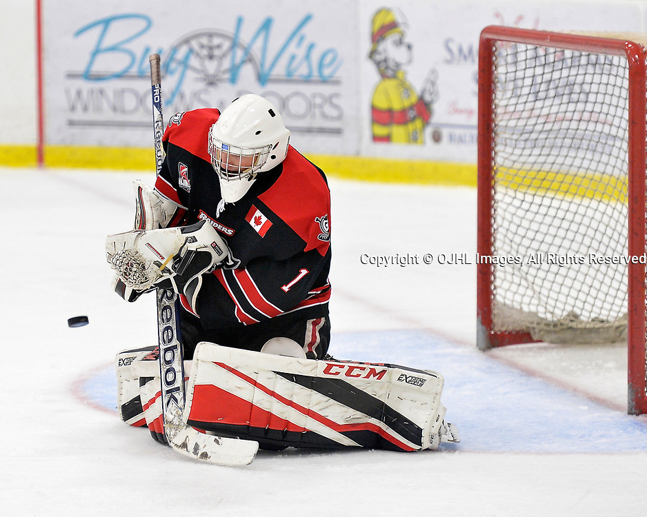 GEORGETOWN, ON  - NOV 4,  2017: Ontario Junior Hockey League game between the Georgetown Raiders and Buffalo Jr. Sabres. Andrew Albano #1 of the Georgetown Raiders makes the save during the second period.<br /> (Photo by Shawn Muir / OJHL Images)