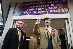 © Licensed to London News Pictures . 28/01/2017 . Stoke-on-Trent , UK . PAUL NUTTALL speaks from the doorway of the newly opened shop , accompanied by deputy leader PETER WHITTLE . UKIP formally launch their campaign in the by-election in the constituency of Stoke-on-Trent Central , at their new campaign shop at 1 Piccadilly in Stoke , with candidate - and party leader - Paul Nuttall . The seat was vacated when Tristram Hunt resigned . Photo credit : Joel Goodman/LNP