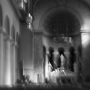 Chapel with beautiful light rendered with intentional camera movement, black and white.