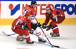 Alexei Tereshchenko (27) of Russia, Ryan Getzlaf (51) of Canada and Ilya Nikulin (5) of Russia at  ice-hockey game Canada vs Russia at finals of IIHF WC 2008 in Quebec City,  on May 18, 2008, in Colisee Pepsi, Quebec City, Quebec, Canada. Win of Russia 5:4 and Russians are now World Champions 2008. (Photo by Vid Ponikvar / Sportal Images)