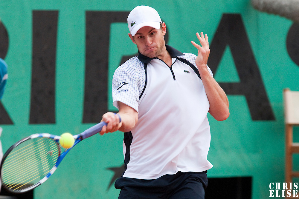 1 June 2009: Andy Roddick of USA hits a forehand during the Men's Single Fourth Round match on day nine of the French Open at Roland Garros in Paris, France.