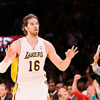 03 November 2013: Los Angeles Lakers power forward Pau Gasol (16) celebrates a three point jumpshot during the Los Angeles Lakers 105-103 victory over the Atlanta Hawks at the Staples Center, Los Angeles, California, USA.