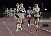 May 2, 2019; Stanford, CA, USA; Jenny Simpson (337) of New Balance defeats Rachel Schneider (325) of Under Armour to win the women's 5,000m, 15:21.12 to 15:21.44, during the 24th Payton Jordan Invitational at Cobb Track & Angell Field.
