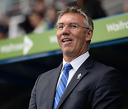 Reading Manager, Nigel Adkins wheres a badge which represents the prostate cancer Charity.  - Photo mandatory by-line: Alex James/JMP - Mobile: 07966 386802 - 18/10/2014 - SPORT - Football - Reading - Madejski Stadium - Reading v Derby County - Sky Bet Championship