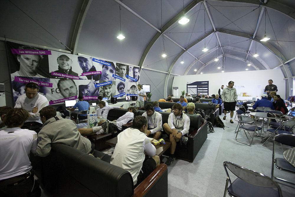 The sailors lounge at the 2011 Korea Match Cup. Gyeonggi Province, Korea. 9 June 2011. Photo: Subzero Images/Korea Match Cup
