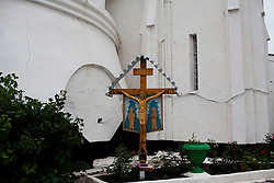 A cross built by prisoners sits outside of a prison church.  The prisons in Moldova have an extraordinarily high rate of TB.