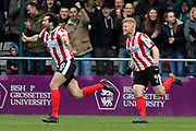 Lincoln City forward Ollie Palmer (8) and celebrates scoring a goal that was disallowed during the EFL Sky Bet League 2 match between Lincoln City and Exeter City at Sincil Bank, Lincoln, United Kingdom on 30 March 2018. Picture by Mick Atkins.