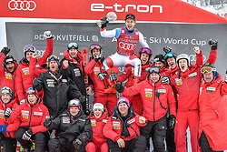 08.03.2020, Kvitfjell, NOR, FIS Weltcup Ski Alpin, SuperG, Herren, Siegerehrung SuperG Weltcup Saison 2019/20, im Bild Mauro Caviezel (SUI, Saison 2019/20 SuperG Weltcup 1. Platz) mit seinem Team // SuperG World Cup overall winner Mauro Caviezel of Switzerland with his Team for the men's Super G overall ranking of FIS ski alpine world cup 2019/20 season. Kvitfjell, Norway on 2020/03/08. EXPA Pictures © 2020, PhotoCredit: EXPA/ Jonas Ericson