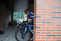 Anna Badegruber (AUT) of Team WNT puts on the stage's cheat sheet before Stage 2 of the Emakumeen Bira - a 90.8 km road race, starting and finishing in Markina Xemein on May 18, 2017, in Basque Country, Spain. (Photo by Balint Hamvas/Velofocus)