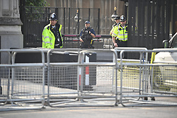 © Licensed to London News Pictures. 12/06/2020. London, UK. A barrier around the Houses of Parliament ahead of a Black Lives Matter demonstration In Parliament Square, central London. Black Lives Matter have called for the removal of statures from throughout the UK of historical characters involved in the salve trade, following the death of George Floyd in the U. S. A . Photo credit: Ben Cawthra/LNP