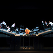October 3, 2012 - Brooklyn, NY : The cast, including Sarah Karbasnikoff (in orange), performs in a technical rehearsal of the Théâtre de la Ville's production of French-Romanian playwright Eugène Ionesco's 1959 play 'Rhinocéros' at BAM in Brooklyn on Wednesday night. The traveling production will perform from Oct. 4-6, 2012. CREDIT: Karsten Moran for The New York Times