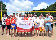 SO Volleyball Ambassadors Vladimir Grbic and Sebastian Swiderski and Pawel Papke and Cezary Pazura with Polish team and Serbia's team before training session match of Special Olympics Poland during Day 7 of the FIVB World Championships on July 7, 2013 in Stare Jablonki, Poland. <br /> <br /> Poland, Stare Jablonki, July 07, 2013<br /> <br /> Picture also available in RAW (NEF) or TIFF format on special request.<br /> <br /> For editorial use only. Any commercial or promotional use requires permission.<br /> <br /> Mandatory credit:<br /> Photo by &copy; Adam Nurkiewicz / Mediasport