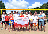 SO Volleyball Ambassadors Vladimir Grbic and Sebastian Swiderski and Pawel Papke and Cezary Pazura with Polish team and Serbia's team before training session match of Special Olympics Poland during Day 7 of the FIVB World Championships on July 7, 2013 in Stare Jablonki, Poland. <br /> <br /> Poland, Stare Jablonki, July 07, 2013<br /> <br /> Picture also available in RAW (NEF) or TIFF format on special request.<br /> <br /> For editorial use only. Any commercial or promotional use requires permission.<br /> <br /> Mandatory credit:<br /> Photo by © Adam Nurkiewicz / Mediasport