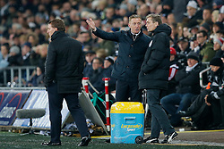 Swansea City Head Coach Garry Monk appeals to the 4th official as Liverpool Manager Brendan Rodgers looks on - Photo mandatory by-line: Rogan Thomson/JMP - 07966 386802 - 16/03/2015 - SPORT - FOOTBALL - Swansea, Wales — Liberty Stadium - Swansea City v Liverpool - Barclays Premier League.