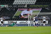 Ben Hamer of Derby County  is beaten by 0 - 1 during the EFL Sky Bet Championship match between Derby County and Brentford at the Pride Park, Derby, England on 11 July 2020.